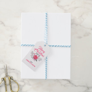 Merry Christmas Typography & Christmas Bouquet Gift Tags