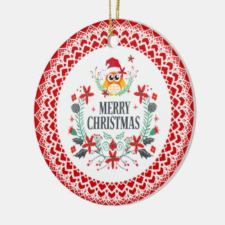 Merry Christmas Typography & Christmas Owl Wreath Ceramic Ornament