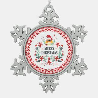 Merry Christmas Typography & Christmas Owl Wreath Snowflake Pewter Christmas Ornament