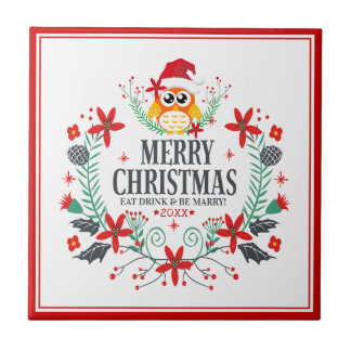Merry Christmas Typography Christmas Owl Wreath Tile