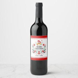 Merry Christmas Typography & Christmas Owl Wreath Wine Label