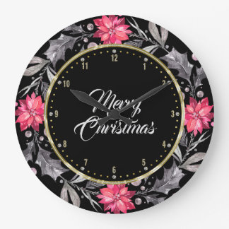 Merry Christmas Typography & Christmas Wreath Large Clock