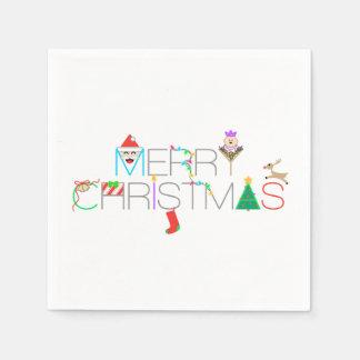 Merry Christmas Typography Disposable Napkin