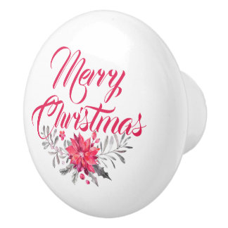 Merry Christmas Typography & Floral Bouquet Ceramic Knob