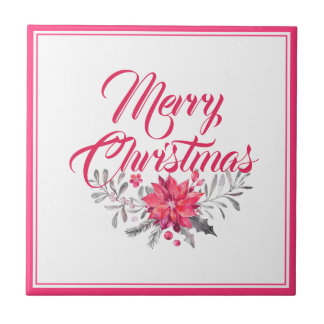 Merry Christmas Typography & Floral Bouquet No.2 Tile