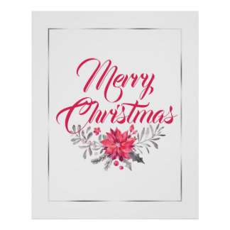 Merry Christmas Typography & Floral Bouquet No.4 Poster