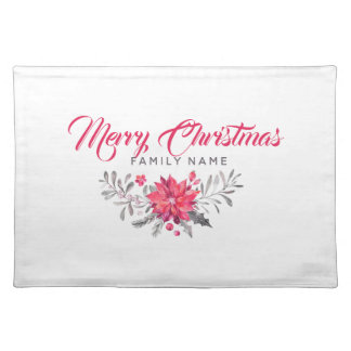 Merry Christmas Typography & Floral Bouquet Placemat
