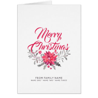 Merry Christmas Typography & Flowers Bouquet Card