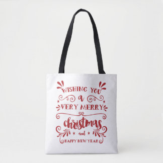 Merry Christmas Typography Holiday Tote Bag