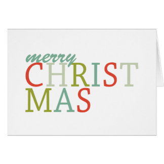 Merry Christmas typography, modern colors Card