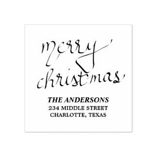 Merry Christmas Typography Modern Crisp Rubber Stamp