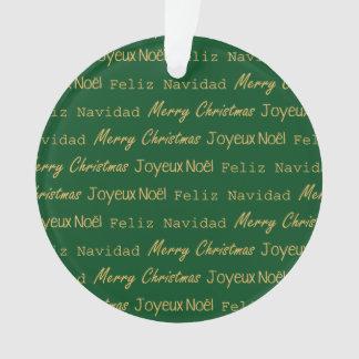 Merry Christmas Typography Noel Navidad Gold Green