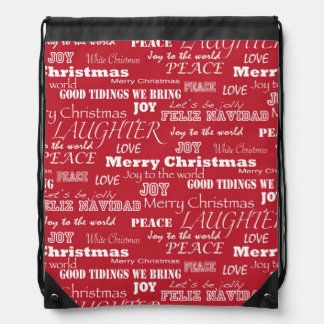 Merry Christmas Typography Pattern Backpack