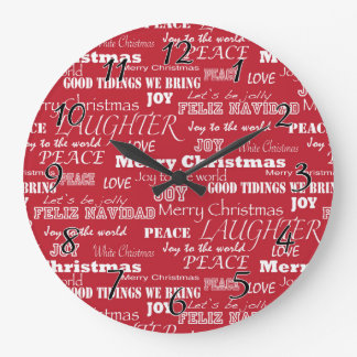 Merry Christmas Typography Pattern Clocks