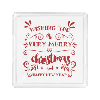 Merry Christmas Typography Serving Tray