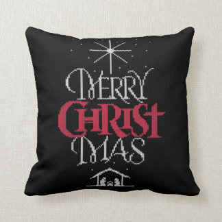 Merry CHRISTmas Ugly Sweater Religious Calligraphy Throw Pillow