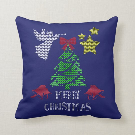 Merry Christmas Ugly Sweater Style Traditional Throw Pillow