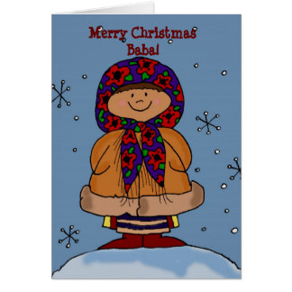 Merry Christmas Ukrainian Girl Folk Art Card