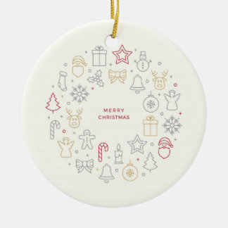 Merry Christmas Vector Round Ornament