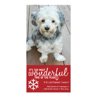 Merry Christmas - Vertical Red Photo Greeting Card
