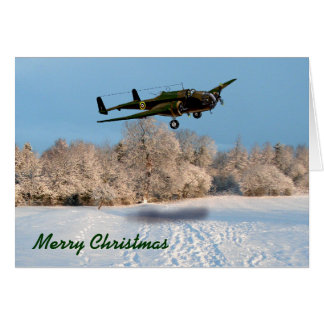 Merry Christmas Vintage Aircraft Card