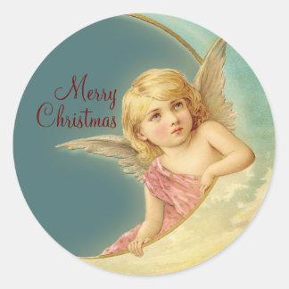Merry Christmas Vintage Angel CC0253 Round Sticker