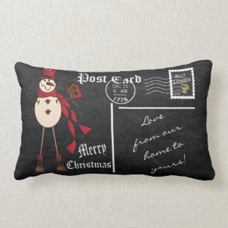 Merry Christmas Vintage Chalkboard Red Snowman Lumbar Pillow