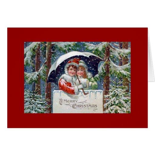 Merry Christmas Vintage Holiday Card Kids Snow
