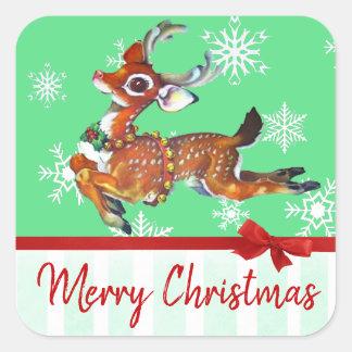 Merry Christmas Vintage Reindeer Stickers