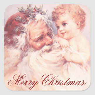 Merry Christmas Vintage Santa Clause and Child Square Sticker