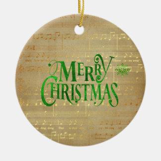 Merry Christmas Vintage Sheet Music Green & Gold Ceramic Ornament