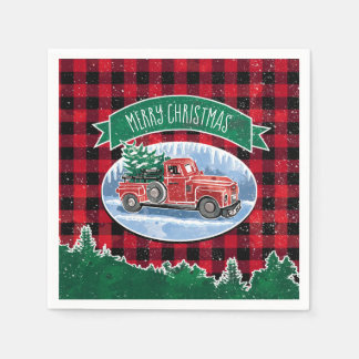 Merry Christmas Vintage Truck Disposable Napkin