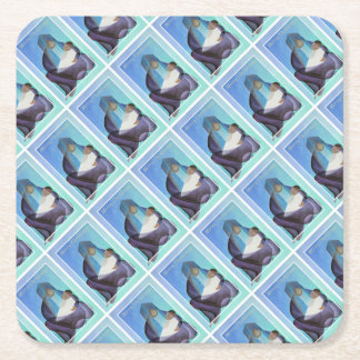 Merry Christmas Virgin Mary And Child Square Paper Coaster
