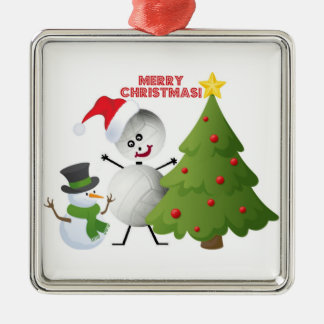 Merry Christmas Volleyball Metal Ornament