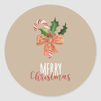 Merry Christmas Watercolor Candy Cane Classic Round Sticker
