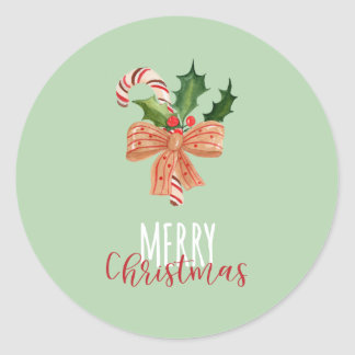 Merry Christmas Watercolor Candy Cane on Green Classic Round Sticker