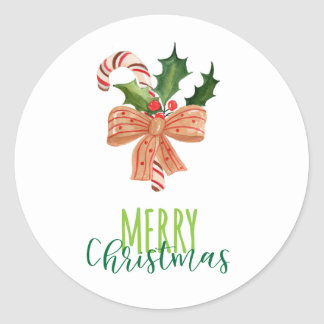 Merry Christmas Watercolor Candy Cane on White Classic Round Sticker