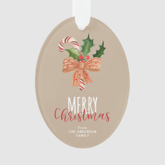 Merry Christmas Watercolor Candy Cane Personalized Ornament