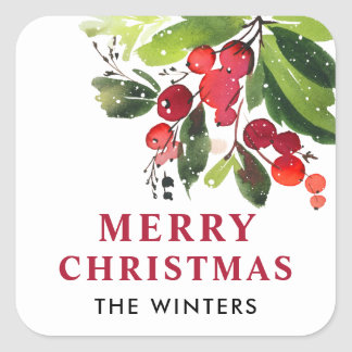 Merry Christmas   Watercolor Christmas Florals Square Sticker