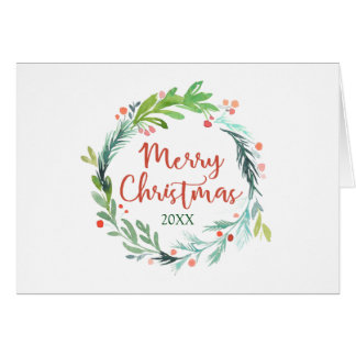 Merry Christmas | Watercolor Christmas Wreath Card