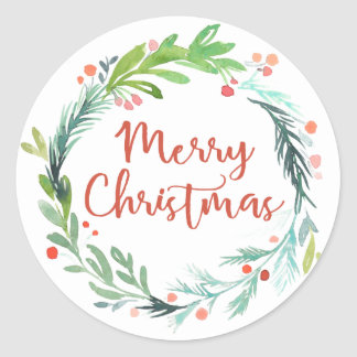 Merry Christmas | Watercolor Christmas Wreath Classic Round Sticker