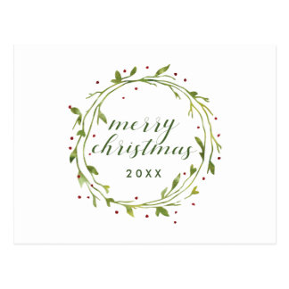 Merry Christmas | Watercolor Christmas Wreath Postcard