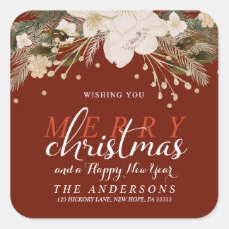 Merry Christmas Watercolor Flowers Return Address Square Sticker