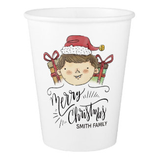 Merry Christmas. Watercolor Hand Drawn Santa Paper Cup