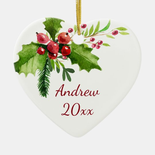 Merry Christmas Watercolor Holly Ceramic Ornament