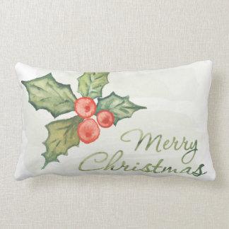 Merry Christmas Watercolor Holly Lumbar Pillow
