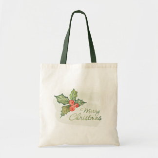 Merry Christmas Watercolor Holly Tote Bag