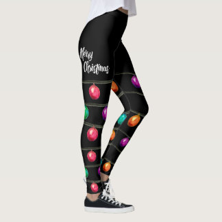 Merry Christmas, Watercolor Ornament Leggings