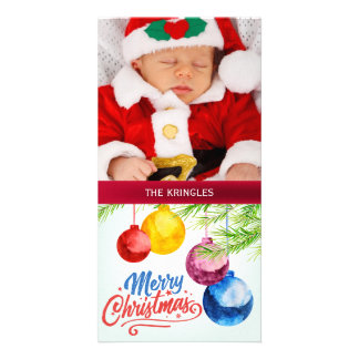 Merry Christmas Watercolor Ornaments Holiday Card