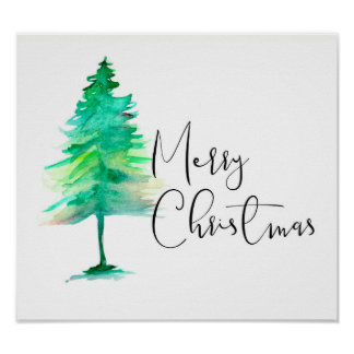 Merry Christmas, Watercolor Pinetree, Script Poster